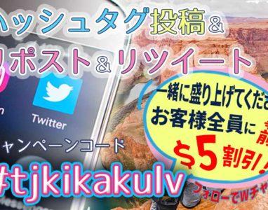 【#tjkikakulv ハッシュタグキャンペーン 10/1 ~ 3/31】投稿しても良いよ!で、$5割引!